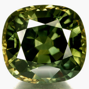 Yellowish Green Cushion Cut Sapphire