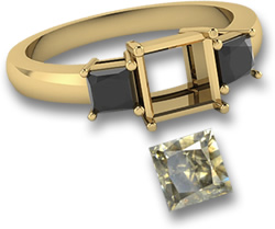Yellow Gold Ring with Square Champagne Diamond & Black Spinel Side Stones