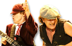 ACDC's Brian Johnson Wearing His Signature Necklace Pendant and Angus Young in His Schoolboy Uniform