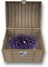 Amethyst Crystals in a Treasure Chest