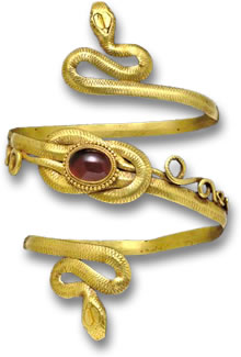 Ancient Greek Gold Armlet with Red Garnet Gemstone