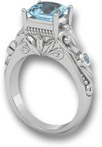 engagement aqua princess rings aquamarine