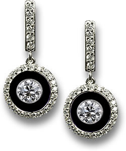 Modern Art Deco Style Dangle Earrings with Onyx and Diamond