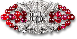 Cartier Art Deco Ruby and Diamond Brooch