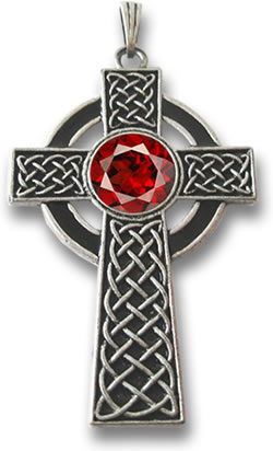 Silver Celtic Cross and Pyrope Garnet Pendant