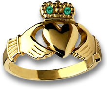 Gold Claddagh Ring with Emerald Accents