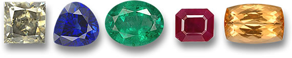 Diamond, Blue Sapphire, Ruby, Emerald and Imperial Topaz