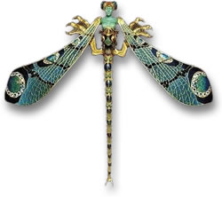 Dragonfly Woman Art Nouveau Brooch by Lalique