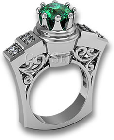 Silver Emerald Ring with White Diamond Accent Stones