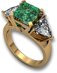 Three Stone Emerald and Diamond Engagement Ring