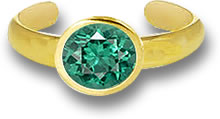 Green Apatite and Gold Toe Ring