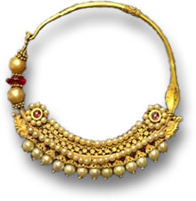 Indian Pearl and Ruby Nose Ring