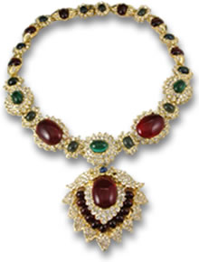 Jackie Kennedy Onassis's Colored Gemstone Cabochon Necklace