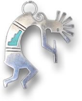 Silver Kokopelli Pendant with Turquoise Inlay