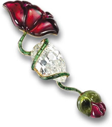 Tourmaline & Diamond JAR Brooch