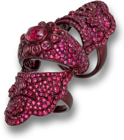 Lydia Courteille's Red Gem Knuckle Ring from the Scarlet Empress Collection