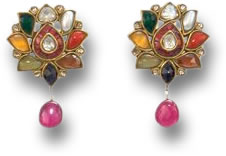 Navaratna Nine Gems Gold Earrings