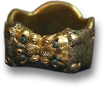 Gold Bracelet with Gemstones and Lions Heads