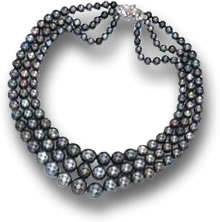 Nina Dyer Three-Strand Black Pearl Necklace