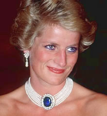 Princess Diana Wearing a Pearl Choker