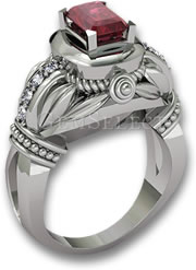 Ruby and White Gold Engagement Ring