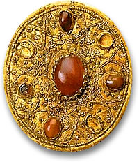 Ancient Scythian Gold and Gemstone Brooch