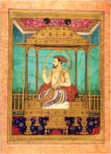 An Artistic Depiction of Shah Jahan on a Peacock Throne