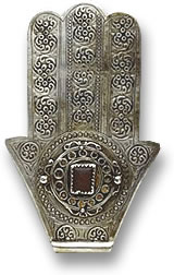 Silver and Gemstone Khamsa Amulet