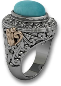 Turquoise and Mixed Metals Ring