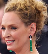 Uma Thurman's Green Gemstone Tassel Earrings