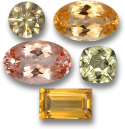 Untreated Diamond, Imperial Topaz, Morganite, Diaspore and Citrine Gems