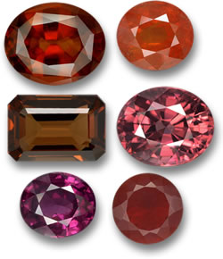 Untreated Hessonite, Spessartite, Enstatite, Zircon, Rhodolite and Fire Opal Gems
