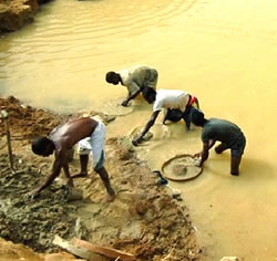 Alluvial Mining for Gems in Sierra Leone
