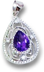 Silver Amethyst Pendant with Diamond Accent Stones