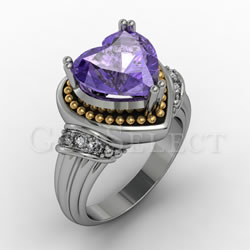 Silver Amethyst Ring with Gold Detail
