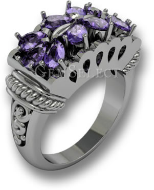 Amethyst and Silver Pinky Ring