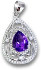 Amethyst, Silver and White Sapphire Pendant