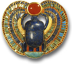 Ancient Egyptian Scarab Amulet with Lapis Lazuli, Carnelian and Other Gemstones