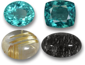 Teal Colored Apatite Gems, and Golden and Black Rutile Quartz Cabochons