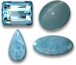 Aquamarine and Larimar Gems