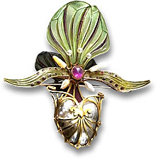 Art Nouveau Gold, Enamel, Pink Gemstone and Pearl Brooch by Georges Fouquet