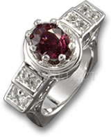 Silver GemSelect Rhodolite Garnet and White Sapphire Ring
