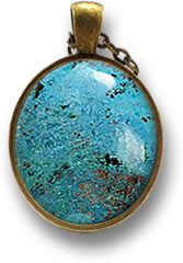 Azurite Cabochon Necklace Pendant