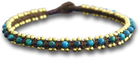 Azurite and Turquoise Anklet with Golden Bells