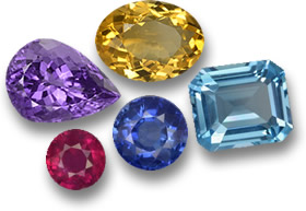 Some of the Most Popular Colored Gems: Blue Sapphire, Ruby, Topaz, Citrine and Amethyst