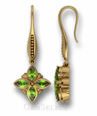 Bezel-Set Peridot Earrings
