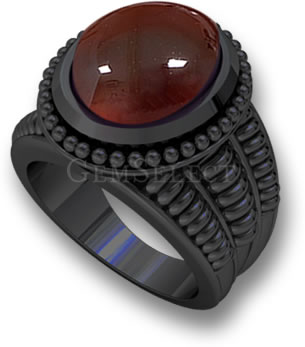 Carnelian in Black Gold Alloy