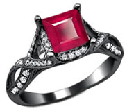 Ruby set in black gold ring