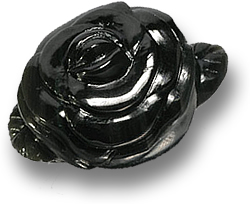 Black Carved Rose Hotan Jade