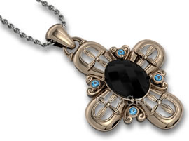 Unisex Black Spinel and Blue Topaz Pendant